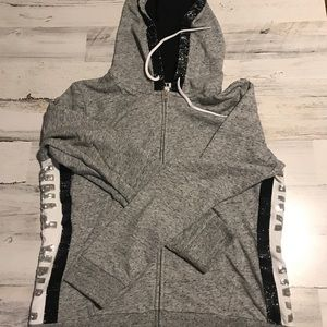 VS PINK BLING SWEATSHIRT HOODIE LARGE GRAY